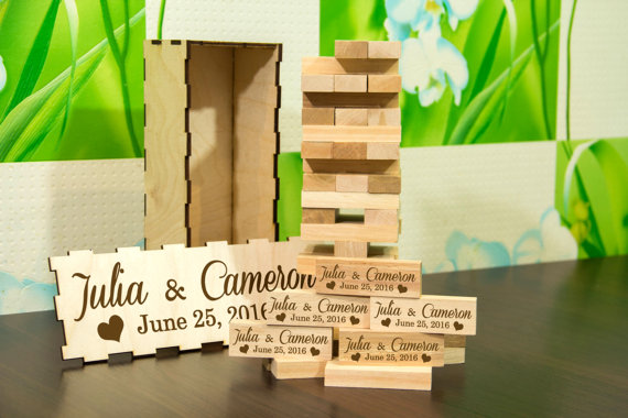 Wedding Jenga Guest Book by DecentCraft on Etsy